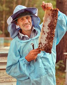 пчеловод с рамкой меда